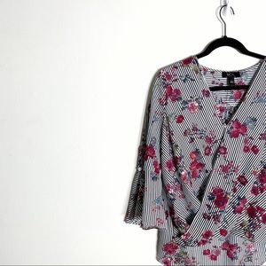 BCX Tops - BCX Striped Floral Wrap Blouse Bell Sleeve